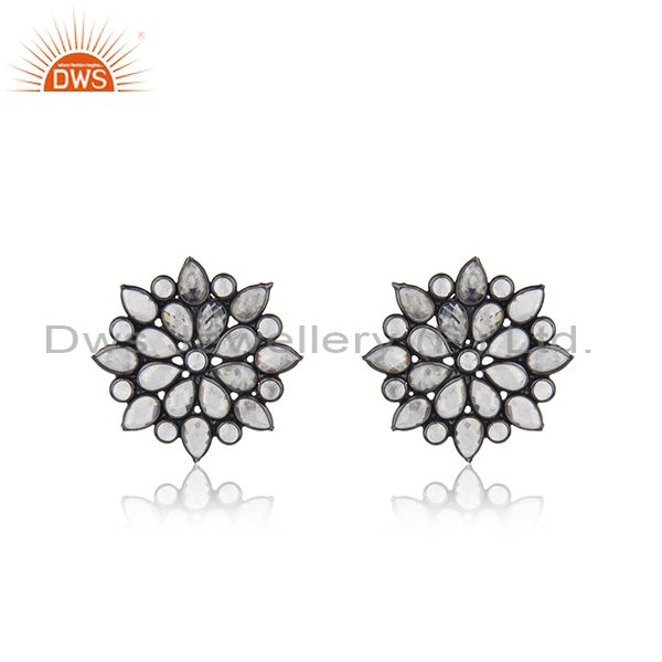 BLack Rhodium Plated Silver Zircon Gemstone Floral Stud Earring Jewelry