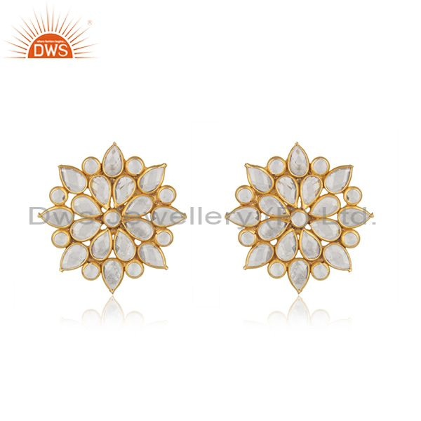 Floral Gold Plated Silver CZ Beaded Gemstone Stud Earrings Jewelry