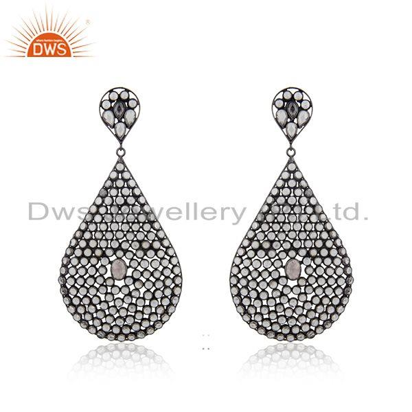 White Zircon Rhodium Plated 925 Silver Earrings Jewelry Manufacturer
