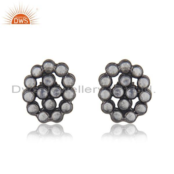 Designer Rhodium Plated Silver White Zircon Gemstone Earrings Jewelry