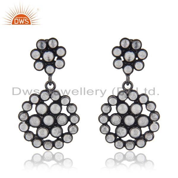 New Designer Silver Rhodium Plated Silver CZ Earrings Jewelry