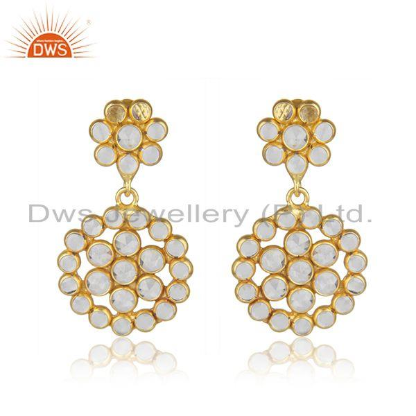 White Zircon Gemstone Designer Silver Earrings Jewelry Supplier