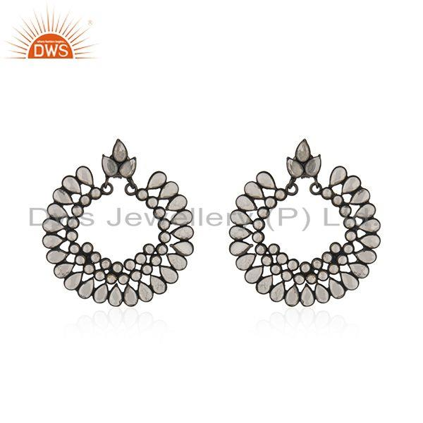 Designer Rhodium Plated Silver CZ Gemstone Chand Bali Earrings Jewelry