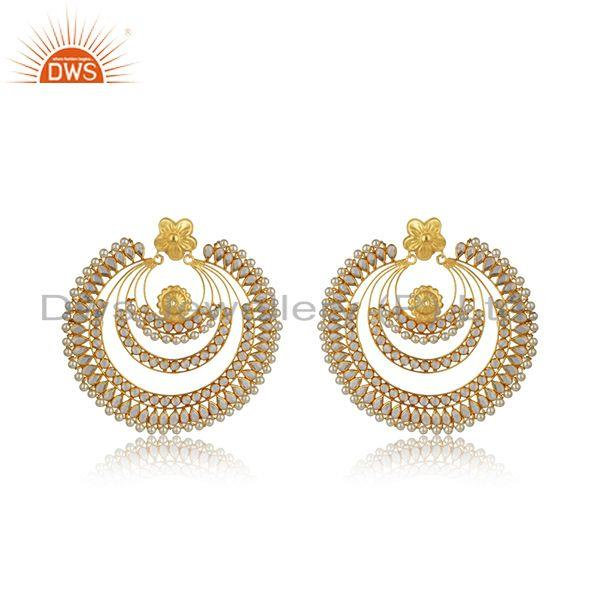 Natural Pearl CZ Gemstone Gold Plated Silver Earring Supplier