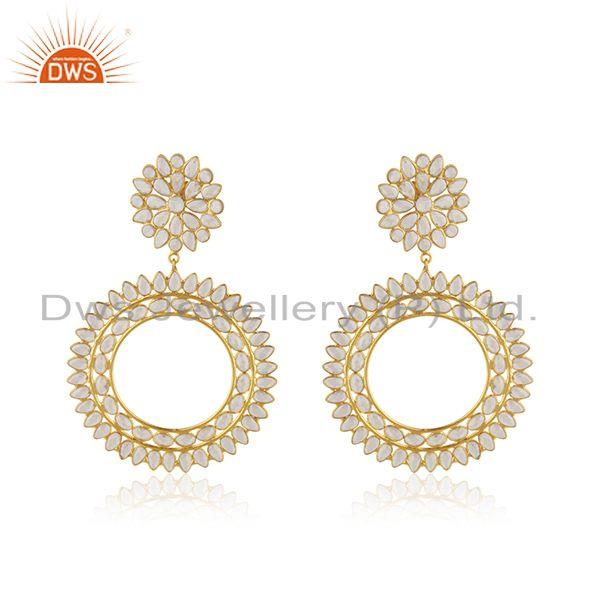 New Silver Gold Plated Designer CZ Indian Earrings Jewelry