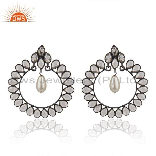Black Rhodium Plated 925 Silver Pearl Earrings Manufacturer of Girls Jewelry