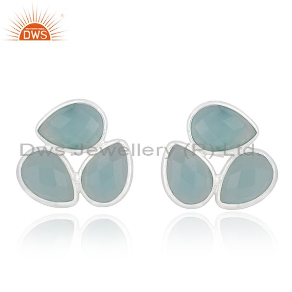 Aqua Chalcedony Gemstone Fine Sterling Silver Stud Earring Manufacturer India