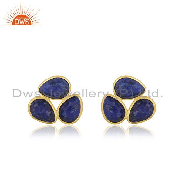 Natural Lapis Gemstone Designer Yellow Gold Plated Silver Stud Earrings