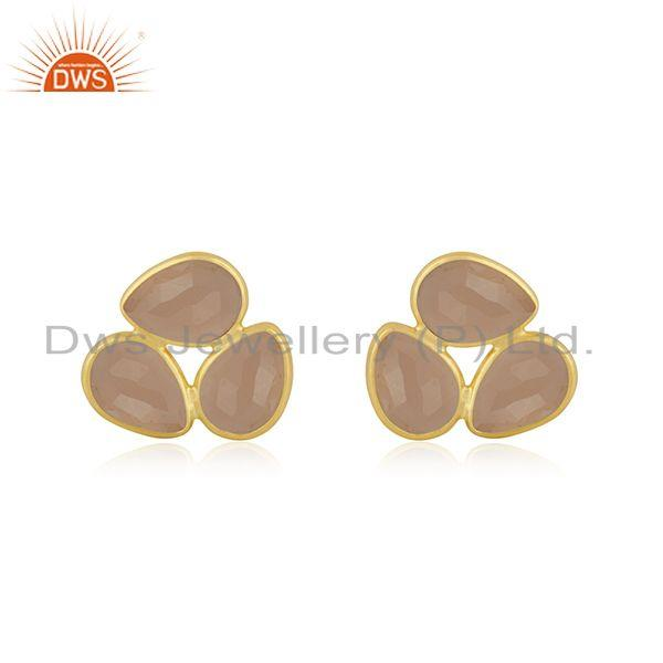 Rose Chalcedony Gemstone Gold Plated 925 Silver Stud Earring Manufacturer India