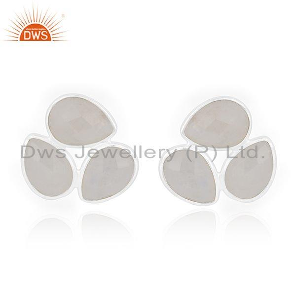 Natural Rainbow Moonstone Fine Sterling Silver Stud Earring Manufacturer