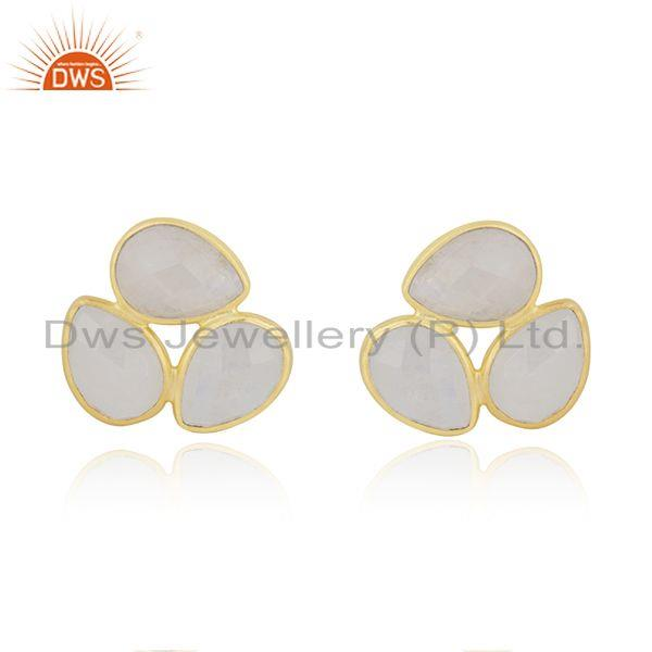Rainbow Moonstone Gold Plated 925 Silver Stud Earring Manufacturer India