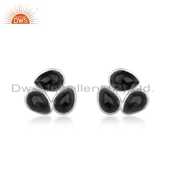 Black Onyx Gemstone Fine Sterling Silver Stud Earring Manufacturer