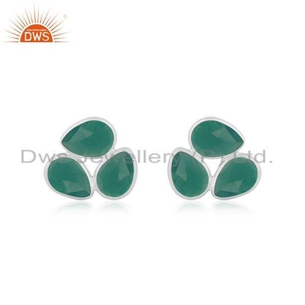 Green Onyx Gemstone Fine Sterling Silver Stud Earring Wholesale