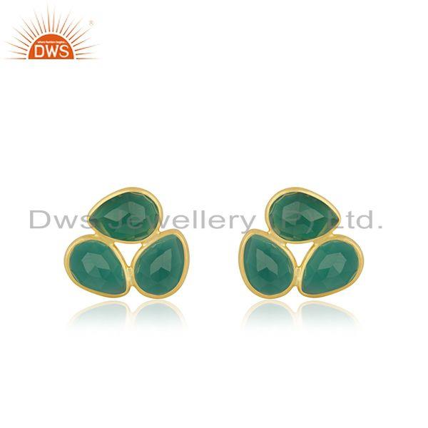 Green Onyx Gemstone Yellow Gold Plated 925 Silver Stud Earrings For Girls