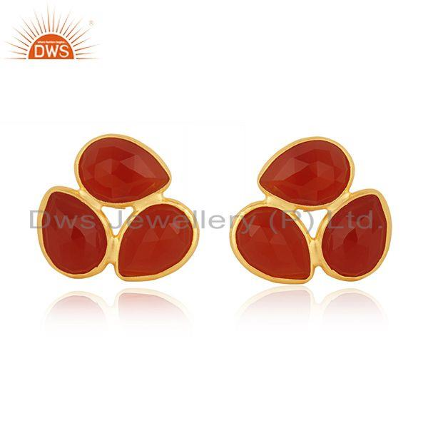 Red Onyx Gemstone Gold Plated 925 Silver Stud Earring Manufacturer India Jaipur