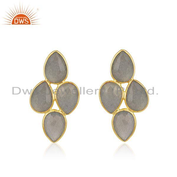 Natural Labradorite Gemstone Gold Plated Silver Earrings Jewelry Supplier