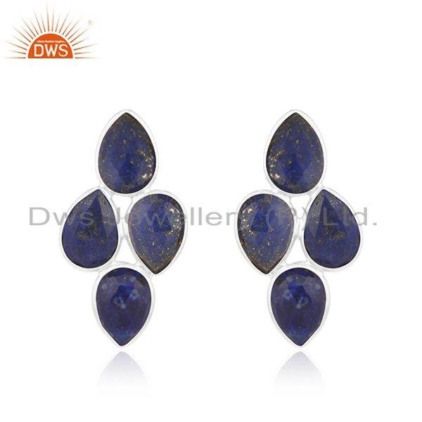 925 Sterling Fine Silver Lapis Gemstone Earrings Jewelry Manufacturer
