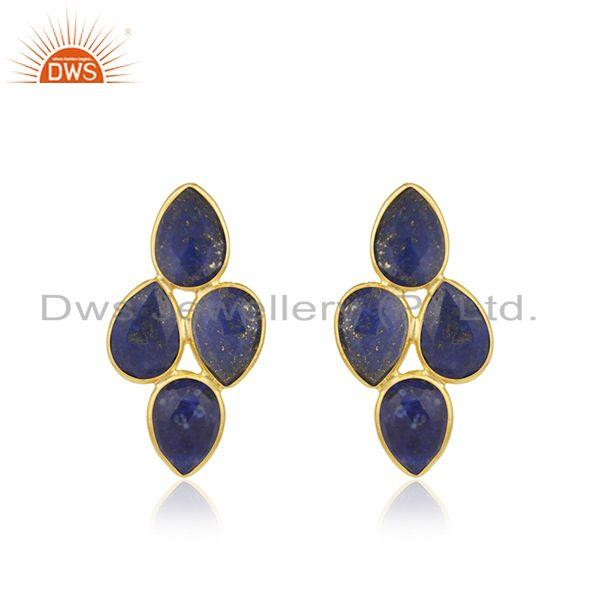 Natural Lapis Gemstone 925 Silver Gold Plated Leaf Design Earrings Jewelry
