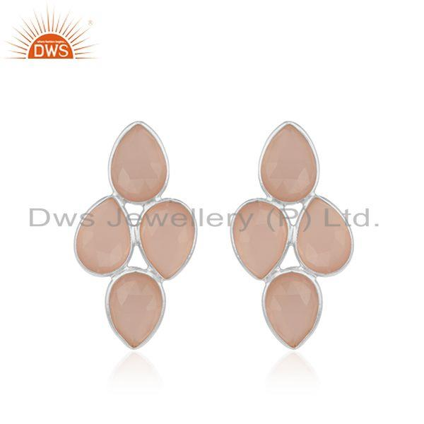 Fine Sterling Silver Rose Chalcedony Gemstone Stud Earring Wholesaler India