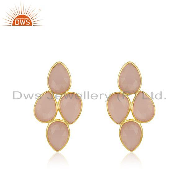 Rose Chalcedony Gemstone 925 Silver Gold Plated Stud Earring Wholesale