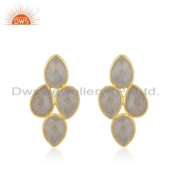 Rainbow Moonstone Gold Plated Sterling Silver Stud Earring Manufacturer Jaipur