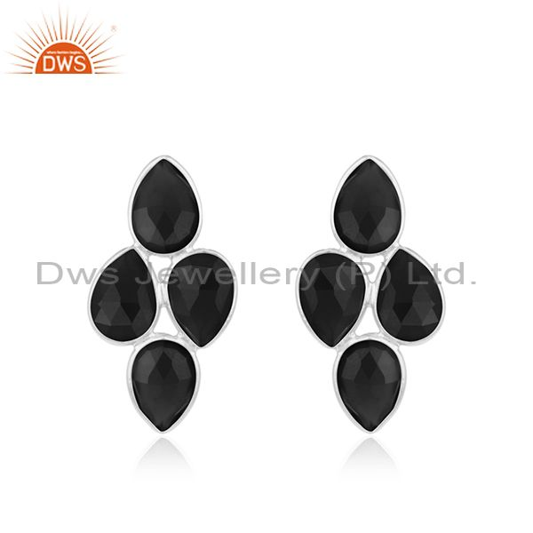 Black Onyx Gemstone Fine Sterling Silver Womens Earring Manufacturer India