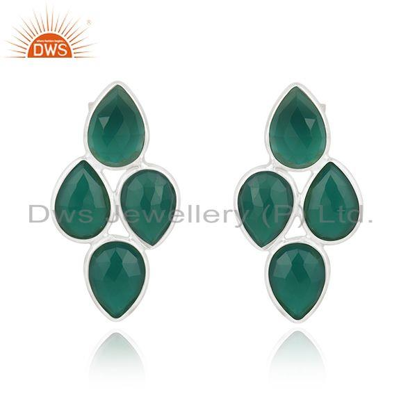 Green Onyx Gemstone Fine Sterling Silver Simple Earring for Womens Jewelry