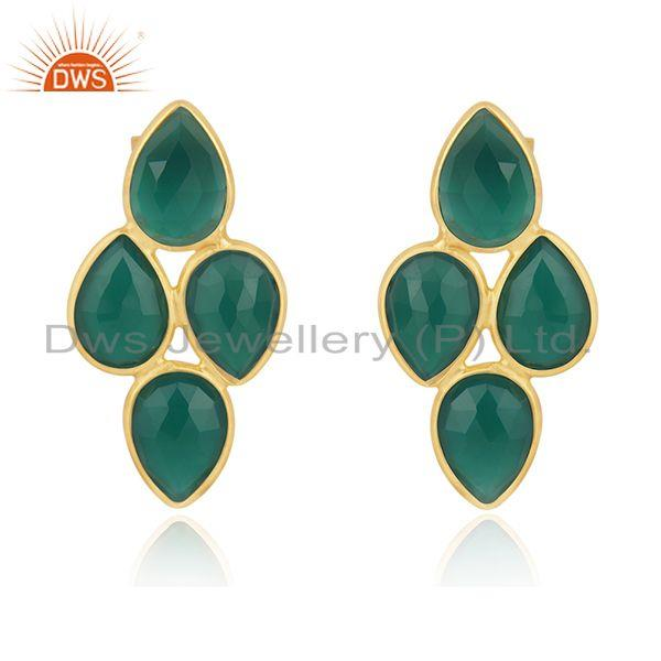 Green Onyx Gemstone Gold Plated 925 Silver Earring Wholesaler