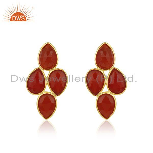 Red Onyx Gemstone Gold Plated 925 Silver Earrings Jewelry Manufacturer
