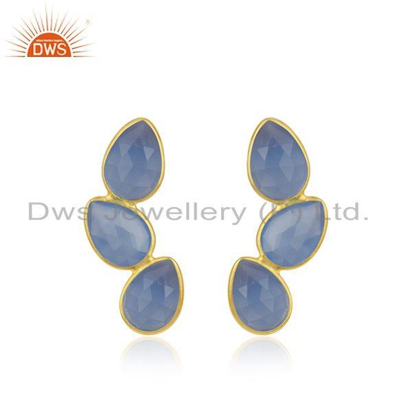 Gold Plated 925 Silver Blue Chalcedony Gemstone Handmade Earring Manufacturer