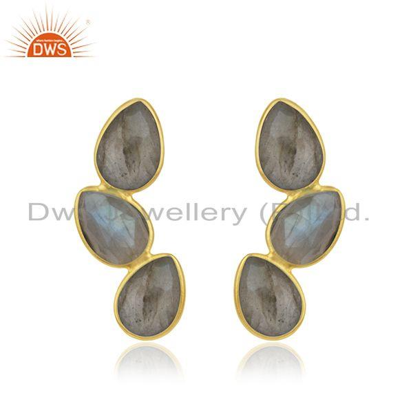 Natural Labradorite Gemstone Silver Gold Plated Designer Earrings Jewelry