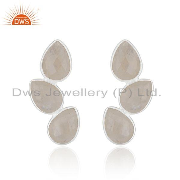 92.5 Sterling Fine Silver Rainbow Moonstone Earring Manufacturer in Jaipur