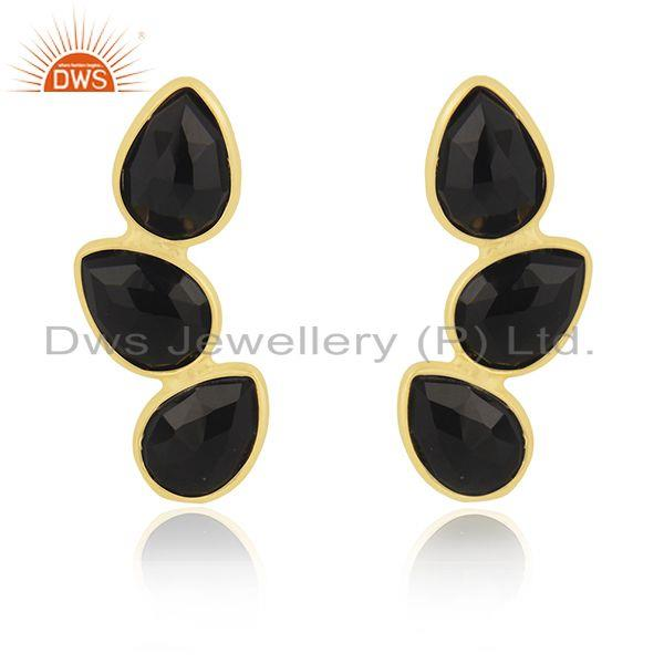 Black Onyx Gemstone Sterling Silver Gold Plated Earring Manufacturer in Jaipur