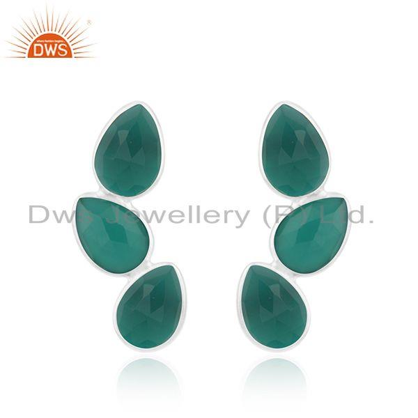 New Sterling Fine Silver Green Onyx Gemstone Leaf Earrings Jewelry