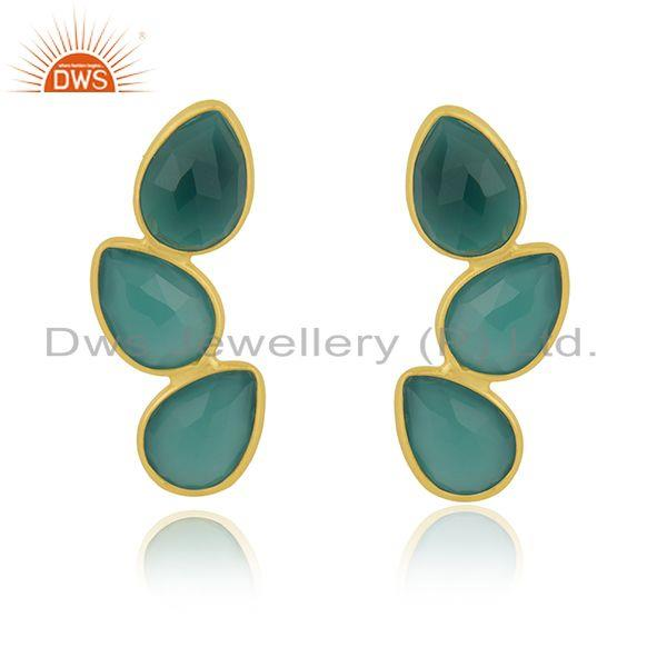 Handmade Gold Plated 925 Silver Green Onyx Gemstone Earring Manufacturer Jaipur
