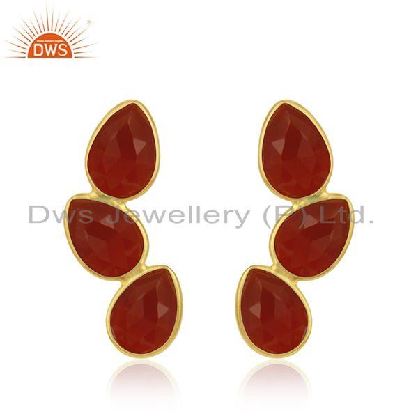 Gold Plated Designer Silver Red Onyx Gemstone Leaf Earrings Jewelry