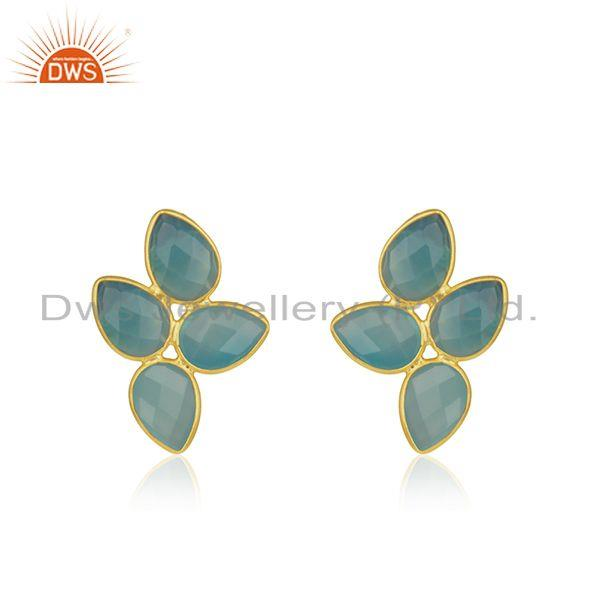 Aqua Chalcedony Gemstone Gold Plated Designer Silver Leaf Earrings Jewelry