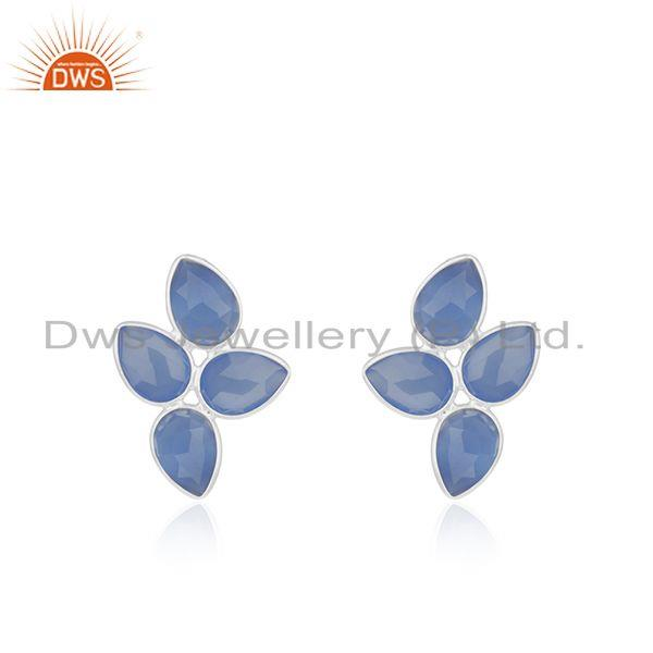 Wholesale Sterling Silver Blue Chalcedony Gemstone Stud Earrings Jewelry