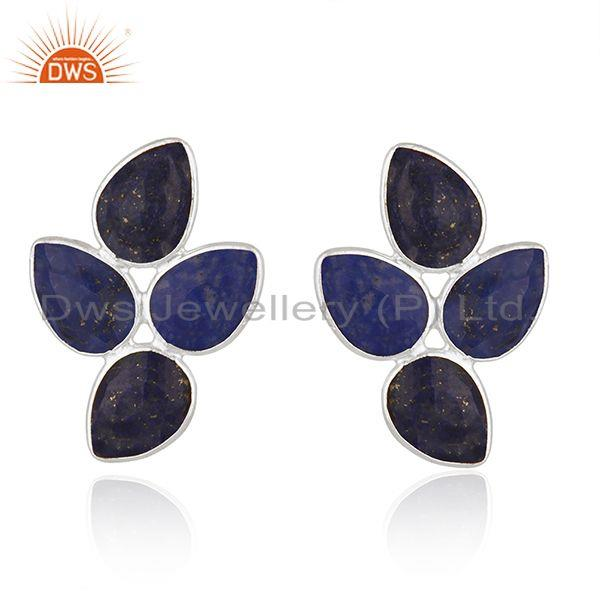 925 Sterling Silver Leaf Design Lapis Gemstone Earrings Jewelry