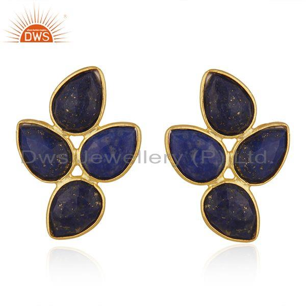 New Arrival Gold Plated 925 Silver Lapis Gemstone Leaf Earrings Jewelry Supplier
