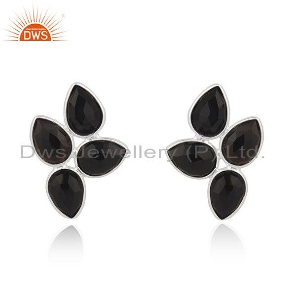 Black Onyx Gemstone Fine Sterling Silver Stud Earring Wholesaler India