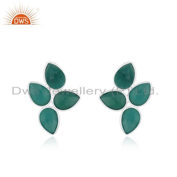 Green Onyx Gemstone Fine Sterling Silver Stud Earring Manufacturer India