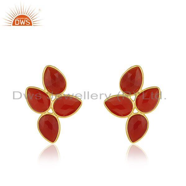 Red Onyx Gemstone 18k Gold Plated Silver Earrings Jewelry