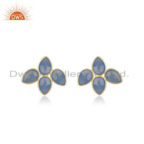 Indian 18k Gold Plated Silver Blue Chalcedony Gemstone Stud Earrings Jewelry