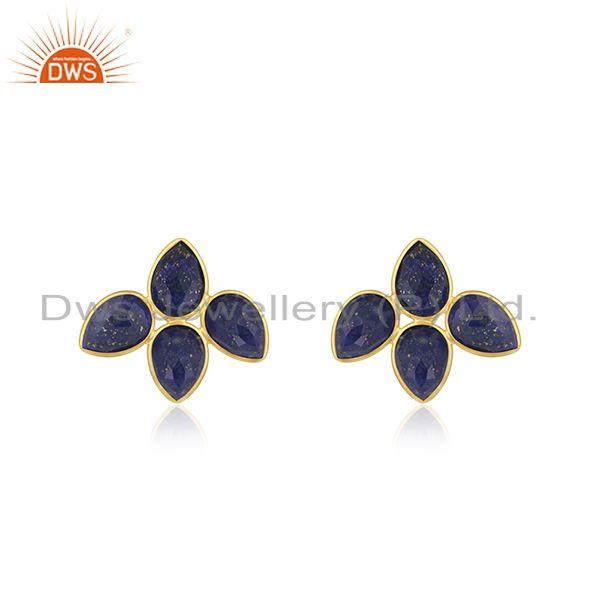 Natural Lapis Gemstone 18k Gold Plated leaf Stud Earrings Jewelry