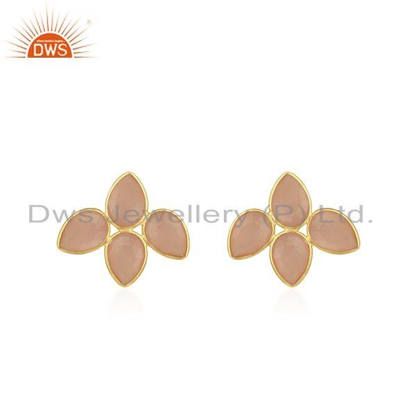 Rose Chalcedony Gemstone Gold Plated 925 Silver Stud Earring Wholesaler India