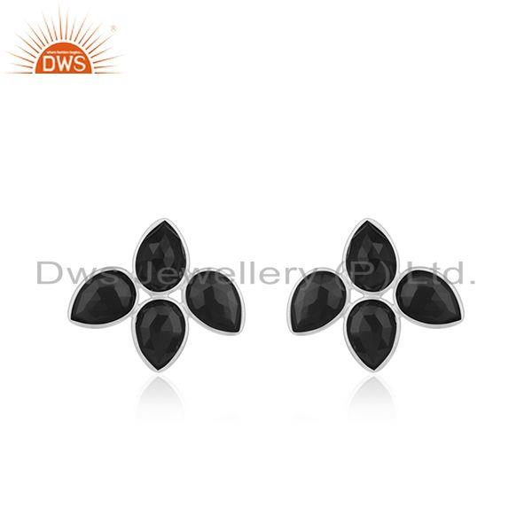 Black Onyx Gemstone Wholesale Fine Silver Stud Earrings Jewelry