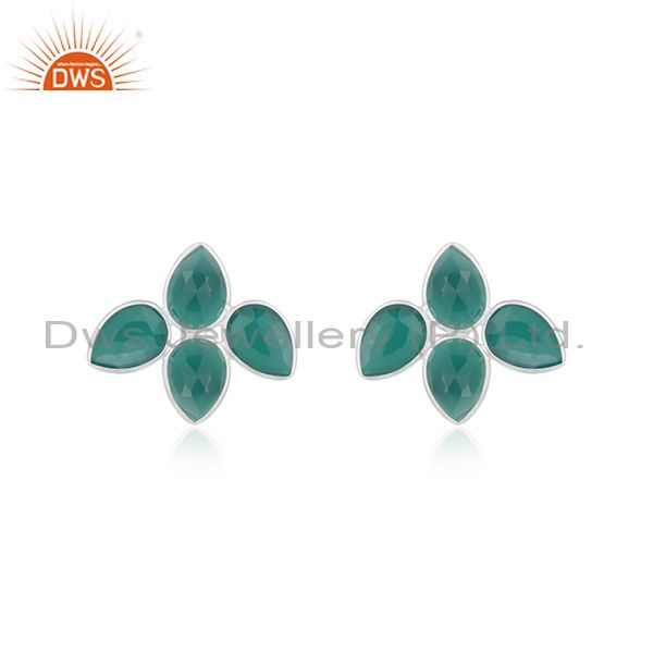 Natural Green Onyx Gemstone Designer Fine Silver Earrings Jewelry