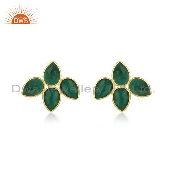 Green Onyx Gemstone Gold Plated 925 Silver Stud Earring Manufacturer Jaipur