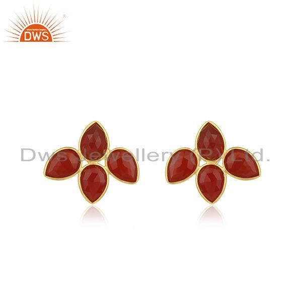 Red Onyx Gemstone Leaf Design Gold Plated 925 Silver Stud Earrings Jewelry